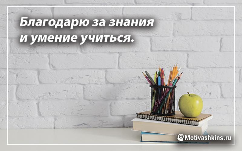 Благодарю за знания и умение учиться.